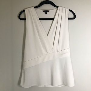 Banana Republic White Crossfront Draped Shell S